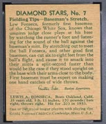 1934-1936 R327 Diamond Stars #7 Lew Fonseca (1934, 35 years old) Chicago White Sox - Back