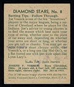 1934-1936 R327 Diamond Stars #8 Joe Vosmik (1934) Cleveland Indians - Back