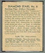 1934-1936 R327 Diamond Stars #8 Joe Vosmik (1935) Cleveland Indians - Back