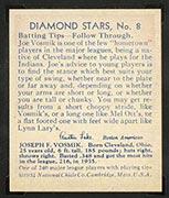 1934-1936 R327 Diamond Stars #8 Joe Vosmik (1936) Cleveland Indians - Back