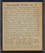 "1934-1936 R327 Diamond Stars #9 ""Mickey"" Cochrane (1935) Detroit Tigers - Back"