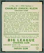 1934 Goudey #10 Charles (Chuck) Klein Chicago Cubs - Back