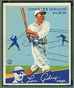 1934 Goudey #10 Charles (Chuck) Klein Chicago Cubs - Front