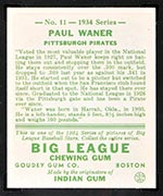1934 Goudey #11 Paul Waner Pittsburgh Pirates - Back