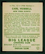 1934 Goudey #12 Carl Hubbell New York Giants - Back