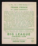 1934 Goudey #13 Frank Frisch St. Louis Cardinals - Back