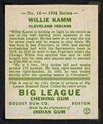 1934 Goudey #14 Willie Kamm Cleveland Indians - Back
