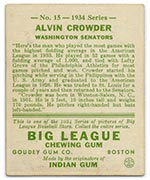 1934 Goudey #15 Alvin Crowder Washington Senators - Back