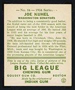 1934 Goudey #16 Joe Kuhel Washington Senators - Back