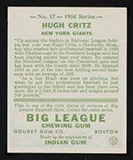 1934 Goudey #17 Hugh Kritz New York Giants - Back