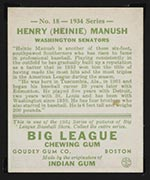1934 Goudey #18 Henry (Heinie) Manush Washington Senators - Back