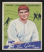 1934 Goudey #18 Henry (Heinie) Manush Washington Senators - Front