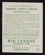 1934 Goudey #19 Robert (Lefty) Grove Boston Red Sox - Back