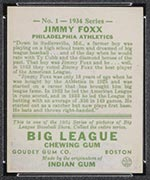 1934 Goudey #1 Jimmy Foxx Philadelphia Athletics - Back