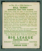 1934 Goudey #21 Bill Terry New York Giants - Back