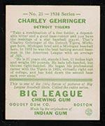 1934 Goudey #23 Charley Gehringer Detroit Tigers - Back