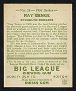 1934 Goudey #24 Ray Benge Brooklyn Dodgers - Back
