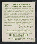 1934 Goudey #25 Roger Cramer Philadelphia Athletics - Back