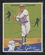 1934 Goudey #25 Roger Cramer Philadelphia Athletics - Front
