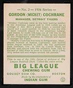 1934 Goudey #2 Mickey Cochrane Detroit Tigers - Back