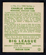 1934 Goudey #3 Charlie Grimm Chicago Cubs - Back
