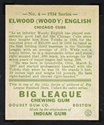 1934 Goudey #4 Elwood (Woody) English Chicago Cubs - Back