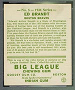 1934 Goudey #5 Ed Brandt Boston Braves - Back