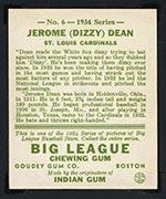 1934 Goudey #6 Jerome (Dizzy) Dean St. Louis Cardinals - Back