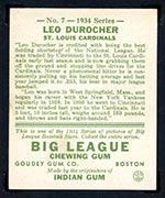 1934 Goudey #7 Leo Durocher St. Louis Cardinals - Back