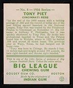 1934 Goudey #8 Tony Piet Cincinnati Reds - Back