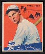 1934 Goudey #8 Tony Piet Cincinnati Reds - Front