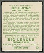 1934 Goudey #9 Ben Chapman New York Yankees - Back