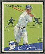 1934 Goudey #9 Ben Chapman New York Yankees - Front