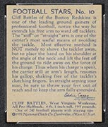 1935 National Chicle #10 Cliff Battles Boston Redskins - Back