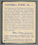 1935 National Chicle #11 Turk Edwards Boston Redskins - Back