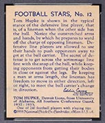 1935 National Chicle #12 Tom Hupke Detroit Lions - Back