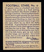 1935 National Chicle #13 Homer Griffiths Chicago Cardinals - Back