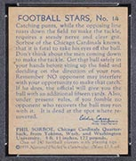 1935 National Chicle #14 Phil Sorboe Chicago Cardinals - Back