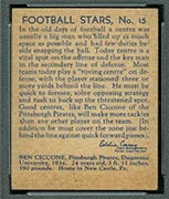 1935 National Chicle #15 Ben Ciccone Pittsburgh Pirates - Back
