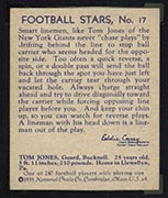 1935 National Chicle #17 Tom Jones New York Giants - Back
