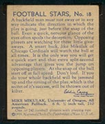 1935 National Chicle #18 Mike Mikulak Chicago Cardinals - Back