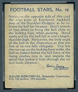 1935 National Chicle #19 Ralph Kercheval Brooklyn Dodgers - Back
