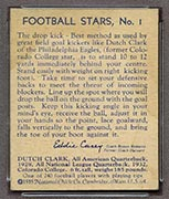"1935 National Chicle #1 ""Dutch"" Clark Philadelphia Eagles - Back"