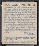 "1935 National Chicle #22 ""Shipwreck"" Kelley Brooklyn Dodgers - Back"