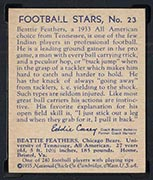 1935 National Chicle #23 Beattie Feathers Chicago Bears - Back