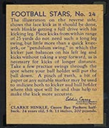 1935 National Chicle #24 Clarke Hinkle Green Bay Packers - Back