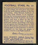 1935 National Chicle #25 Dale Burnett New York Giants - Back