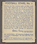 1935 National Chicle #2 Bo Molenda New York Giants - Back