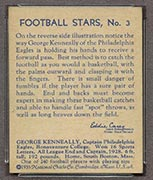 1935 National Chicle #3 George Kenneally Philadelphia Eagles - Back