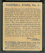 1935 National Chicle #4 Ed Matesic Philadelphia Eagles - Back